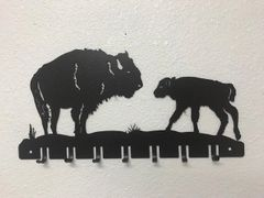 Buffalo with Calf 7 Key Hook
