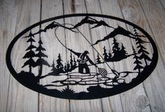 Fly Fisherman 20'' Oval Wall Art
