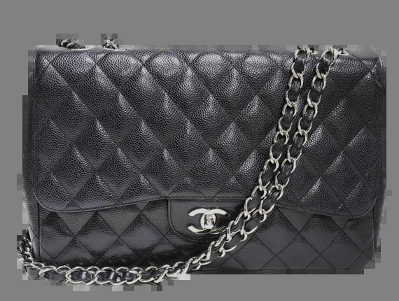 29afac57e349d1 Chanel Jumbo Black Caviar Flap Bag Silver Chain Strap | UPSCALE ALLEY