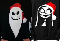 WASHABLE JACK & SALLY - COUPLES SWEATERS - MR & MRS CLAUS - THE PUMPKIN KING - UGLY CHRISTMAS SWEATER