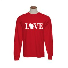 Wisconsin Love Text Long Sleeve Shirt - Wisconsin Shirt - Wisconsin Pride - MADE IN THE USA!