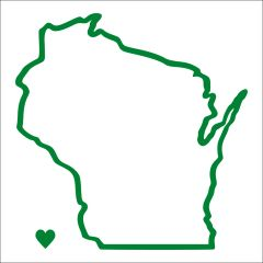 Wisconsin Outline Heart Vinyl Car Decal