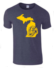 Michigan Map Wolverine T-Shirt - Wolverine Shirt - Michigan Shirt - Michigan Wolverines - Michigan Pride - Support the Wolverines - MADE IN THE USA!