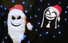JACK & SALLY - COUPLES SWEATERS - MR & MRS CLAUS - THE PUMPKIN KING - LIGHT UP - UGLY CHRISTMAS SWEATER