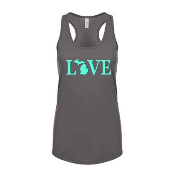 Love Text Michigan Map Women's Racerback Tank Top - Love Text Tank - Michigan Tank - Love Michigan - Michigan Love