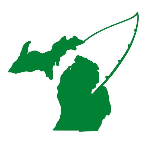 Michigan map fishing vinyl car decal michigan fishing fishing decal