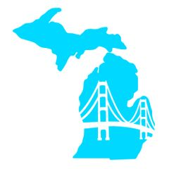Michigan Map Mackinac Bridge - Michigan Map - Michigan Pride - American Pride - Travel Michigan - Mackinaw Decal