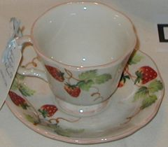 Strawberry cup and saucer