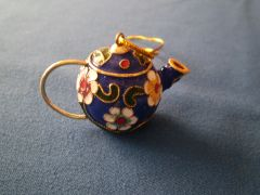 Mini Tea Pot Ornament Blue