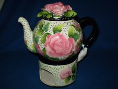Sky Rose Teapot with warmer