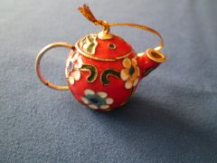 Mini Tea Pot Ornament Red