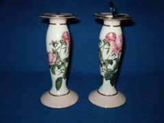 Pink Rose Candlesticks from Goebel