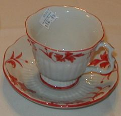 Red Ribbed cup and saucer