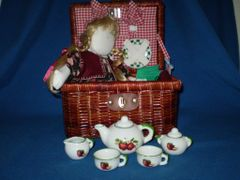 Apple girl doll tea set