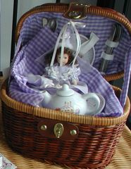 Little Girl Tea set Birthday doll purple