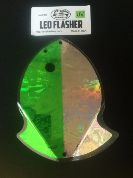 Large Leo Flasher UV Green/Silver Frost