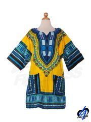 Dashiki Shirt - Blue/Yellow