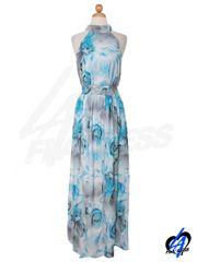 Floral Printed Maxi Dress - Blue