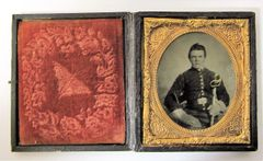 Union Cavalryman with Saber Sixth Plate Tintype