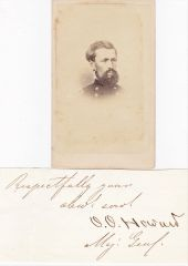 Famed Gettysburg General O. O. Howard Signature with Rank and CDV