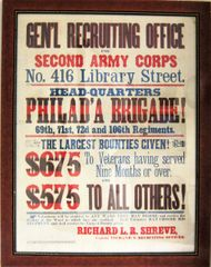 2nd Army Corp Recruiting Broadside, The Philadelphia Brigade