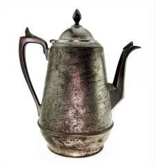 Rare Antique E.B. Manning Tin - Pewter 1862 dated Civil War Era Patent Britannia Coffee / Teapot