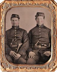 "1/6th Plate Tintype of Well Armed Soldiers With ""Star"" Belt Buckle"