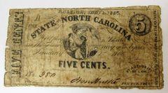 North Carolina Five Cent Note