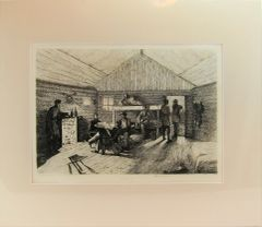 Edwin Forbes Engraving Plate No. 13, Officer's Winter Quarters
