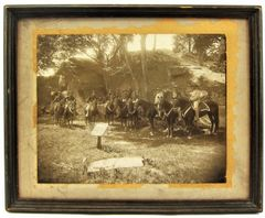Gettysburg Albumen Photograph Devils Den with Members of the 8th Cavalry Staff