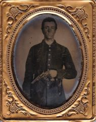 "Soldier with Colt Model 1849 ""Pocket"" Revolver Ninth Plate Tintype"