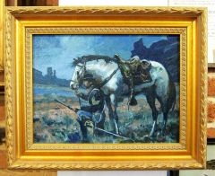 Artist Study Oil On Canvas And Framed Print Of The Same - Midnight Hour By Dale Gallon