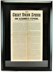 The Great Union Speech Of Hon. Alexander H. Stephens, Vice-President of the Southern Confederacy