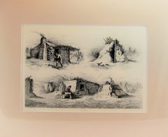 Edwin Forbes Engraving Plate No. 4, A Wagoner's Shanty / The Deserted Pickett-Hut / Mud Huts