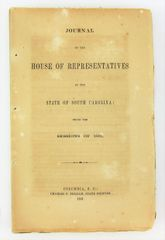 Scarce Confederate Imprint - Journal of the House of Representatives South Carolina 1861