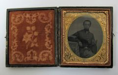 Seated Infantry Corporal Tintype Sixth Plate