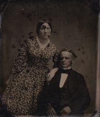 Older Man and Middle Aged Women Fourth Plate Ruby Ambrotype