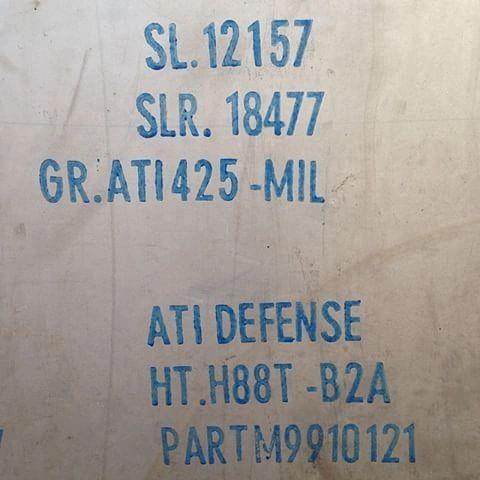 ".250"" x 12"" x 2"" ATI 425 / Gr38 Titanium Strike Plate"