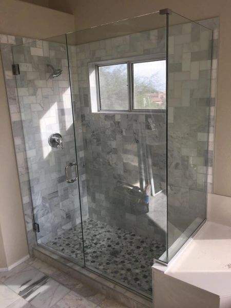 Frameless Shower Door With Notched Inline Panel And 90