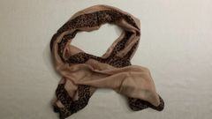 Animal print border silk scarf