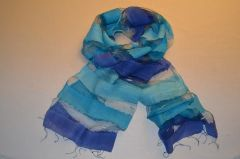 Two tone transparent silk scarf