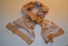 Autumnal Silk Scarf with Transparent Panels