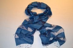 Blue Transparent Silk Scarf