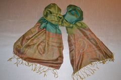 Silk Scarf with Jacquard Border