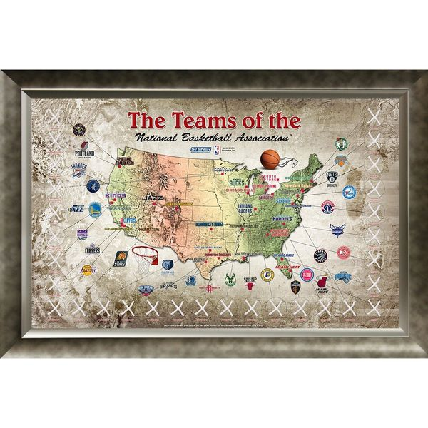 EXCLUSIVE-NBA Basketball Game Used Net 20x32 Framed Map ...