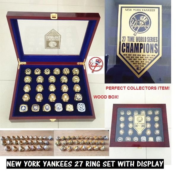 dd59ee74 Ultimate YANKEES FAN 27 RING SET WITH WOOD DISPLAY CASE AND LOGO    Championship Bling Rings For Sale in USA-Best Quality-Low Price