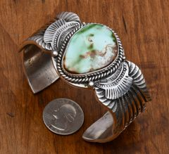 Large wrist-size Navajo Sterling cuff with beautiful Royston, Nevada turquoise by Garret Hale.