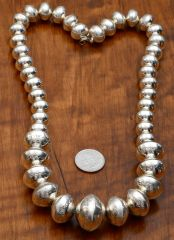 Navajo dead-pawn Sterling stamped bead necklace.