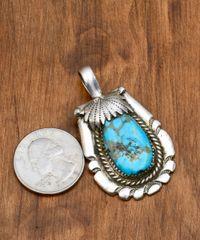 Smaller dead-pawn Navajo pendant with Kingman, Arizona turquoise.