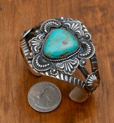Dead-pawn Navajo Sterling cuff by Kevin Billah.—SOLD!